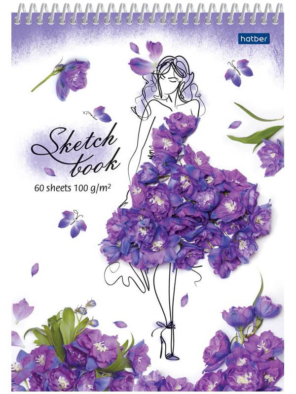 Скетчбук Hatber Flower A5 60 листов 60Б5Aпс_22259