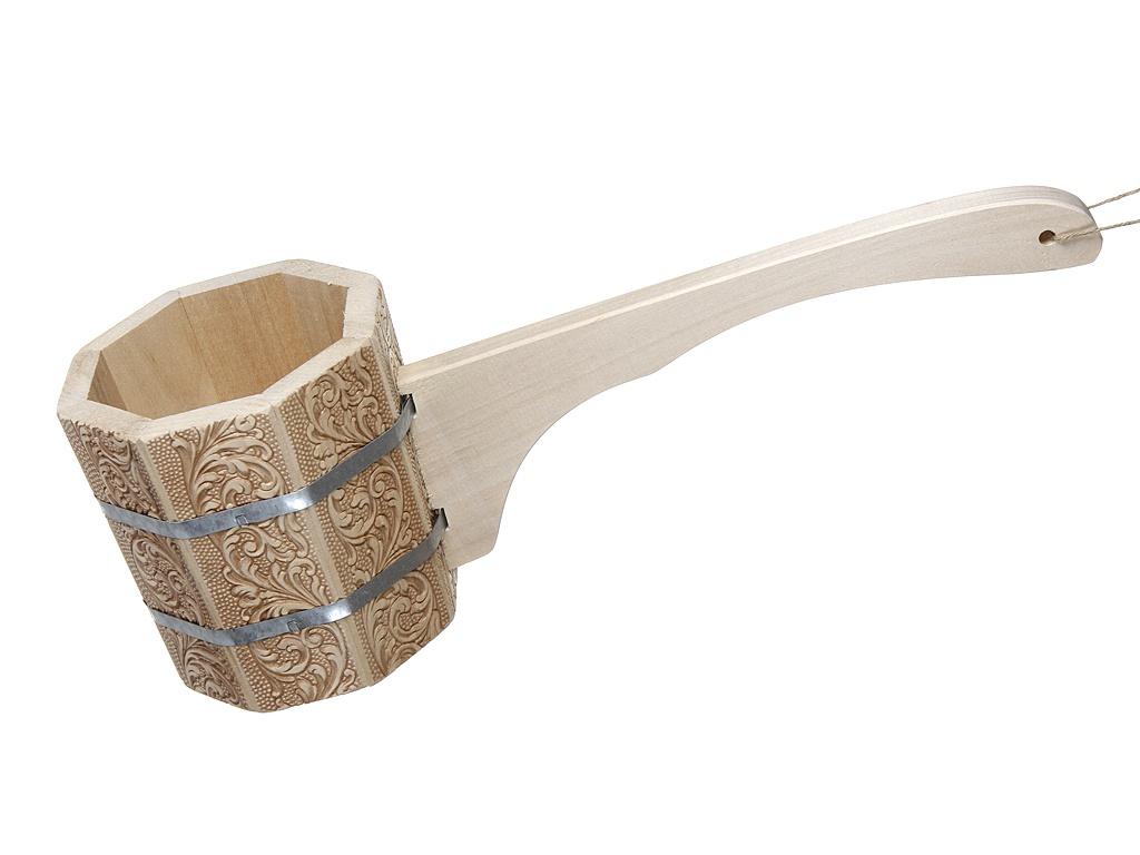 Ковш-черпак Банные штучки бондарный с длинной ручкой орнамент Цветы 1.5L 33426 фото