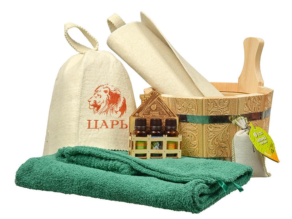 Набор для бани Банные штучки Здоровый дух: ушат,накидка,шапка,коврик,набор масел и запарка 41276