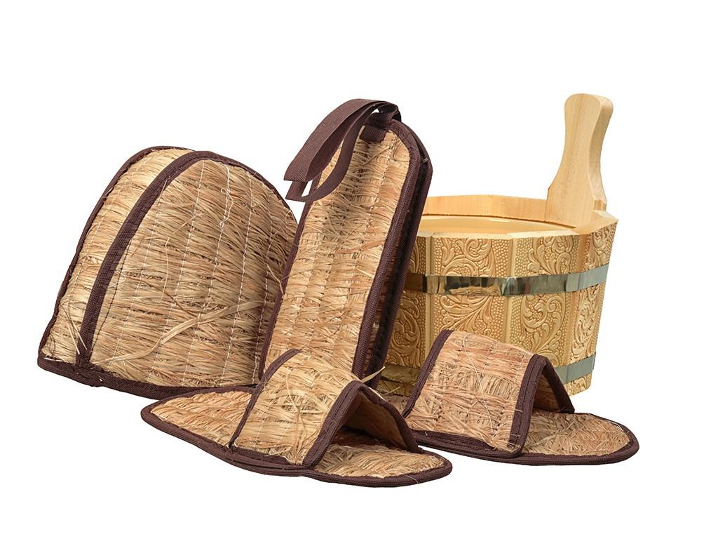 Набор для бани Банные штучки Бодрый пар: ушат,шапка,тапочки и мочалка 41315