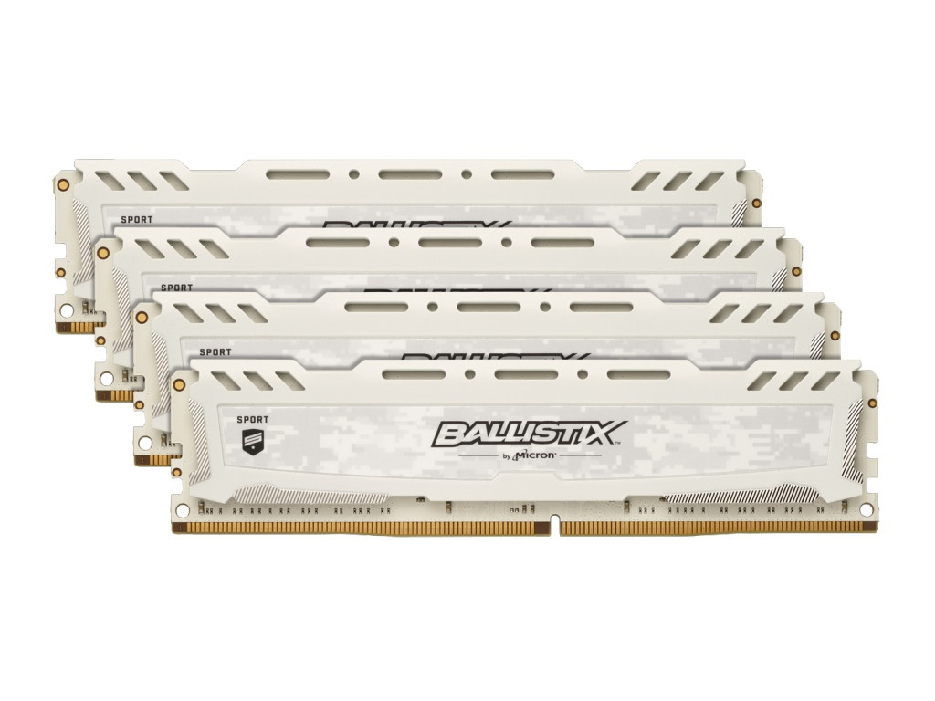 цена на Модуль памяти Crucial Ballistix Sport LT White DDR4 DIMM 2666MHz PC4-21300 CL16 - 64Gb KIT (4x16Gb) BLS4K16G4D26BFSC