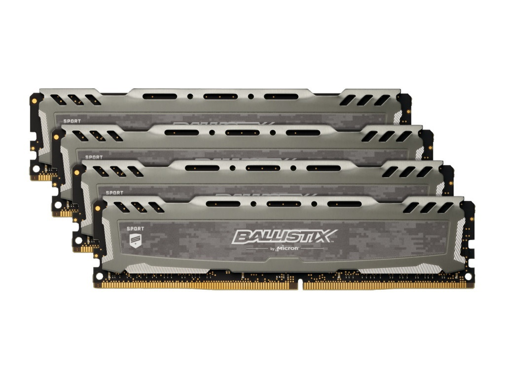 Модуль памяти Crucial Ballistix Sport LT DDR4 DIMM 3000MHz PC4-24000 CL15 - 64Gb KIT (4x16Gb) BLS4K16G4D30AESB