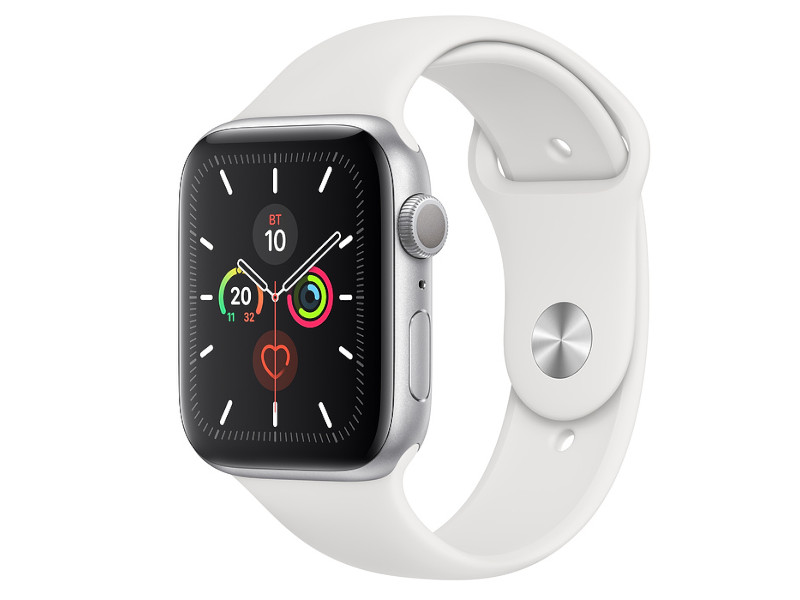 Умные часы APPLE Watch Series 5 44mm Silver Aluminium with White Sport Band S/M - M/L MWVD2RU/A Выгодный набор + серт. 200Р!!!