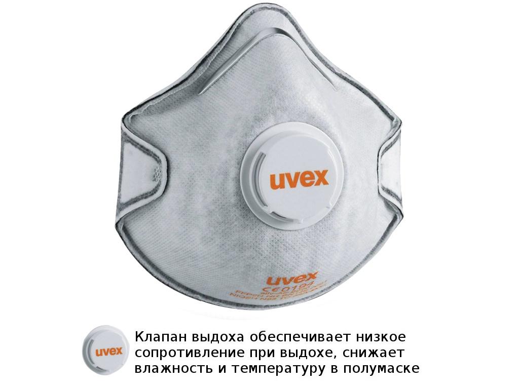 Защитная маска Uvex Cилв-Эйр 2220 класс защиты FFP2 (до 12 ПДК) Клапан Угольный фильтр 8732220