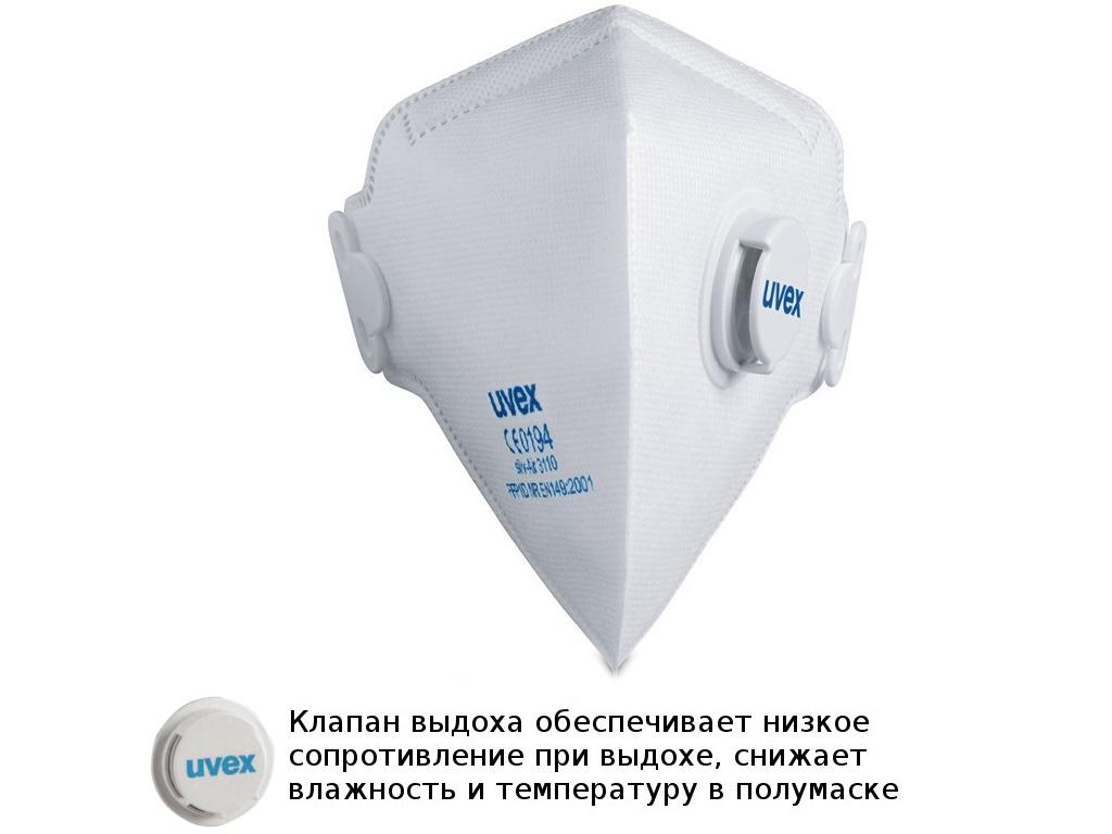 Защитная маска Uvex Cилв-Эйр 3110 класс защиты FFP1 (до 4 ПДК) Клапан выдоха 8733110