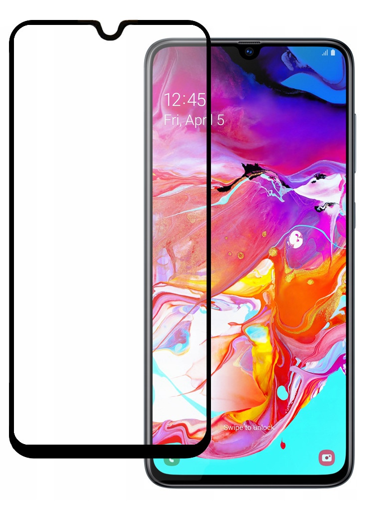 Защитное стекло Pero для Samsung Galaxy A70 Full Screen Cover Glue Black PGFG-A70