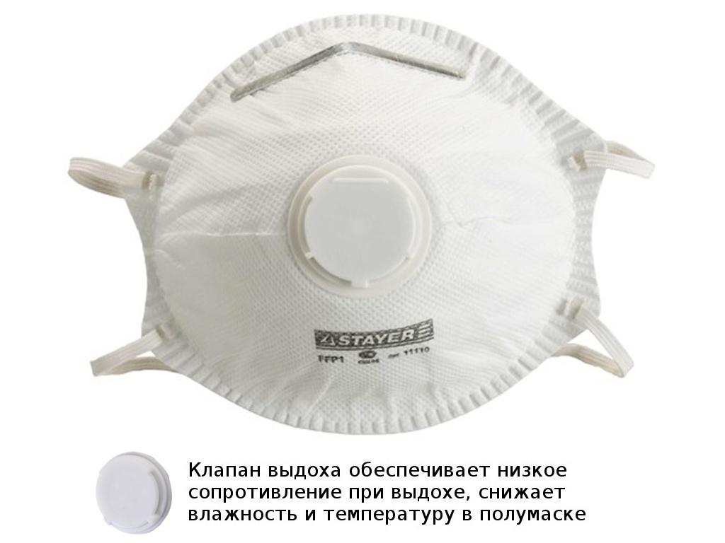 Защитная маска Stayer Profiкласс защиты FFP1 (до 4 ПДК) с клапаном 11110