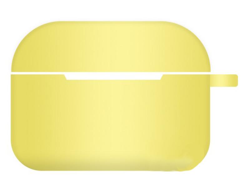 Чехол Krutoff для AirPods Pro Hang Silicone Case с карабином Yellow 10964