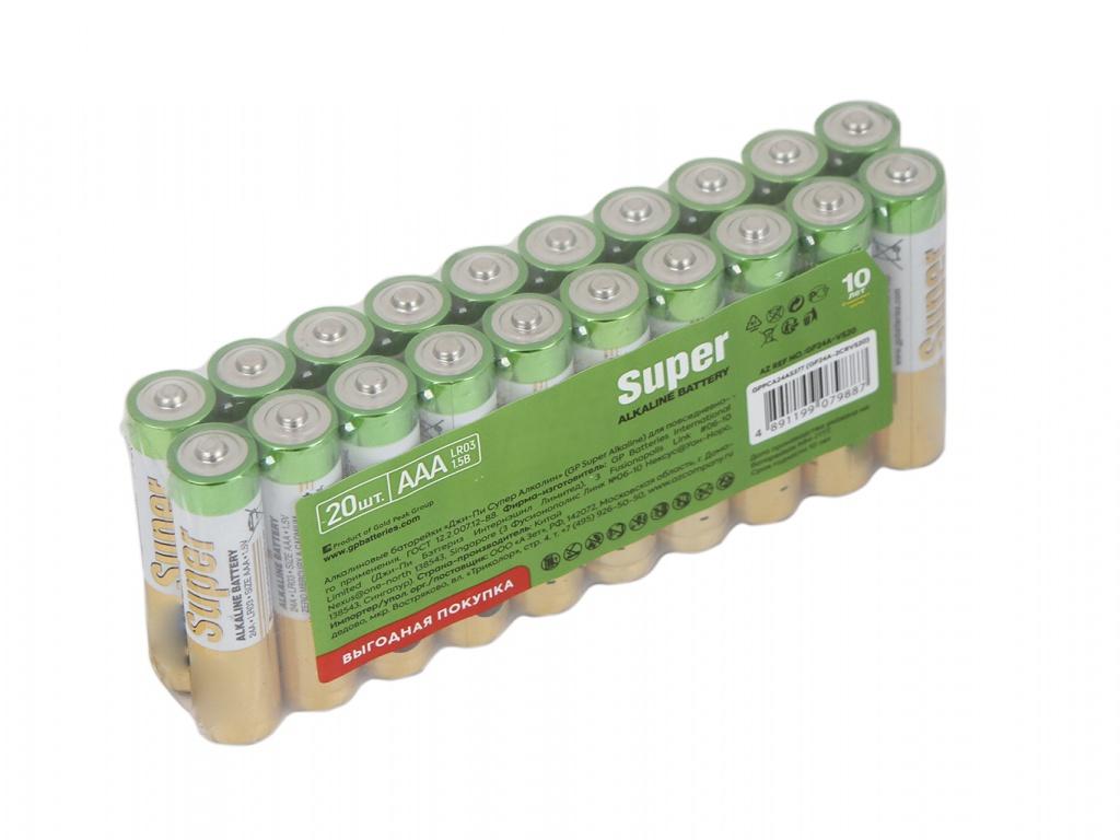 Батарейка AAA - GP Super Alkaline 24A-2CRVS20 (20 штук) батарейка aaa gp super alkaline 24a 2crvs60 60 штук