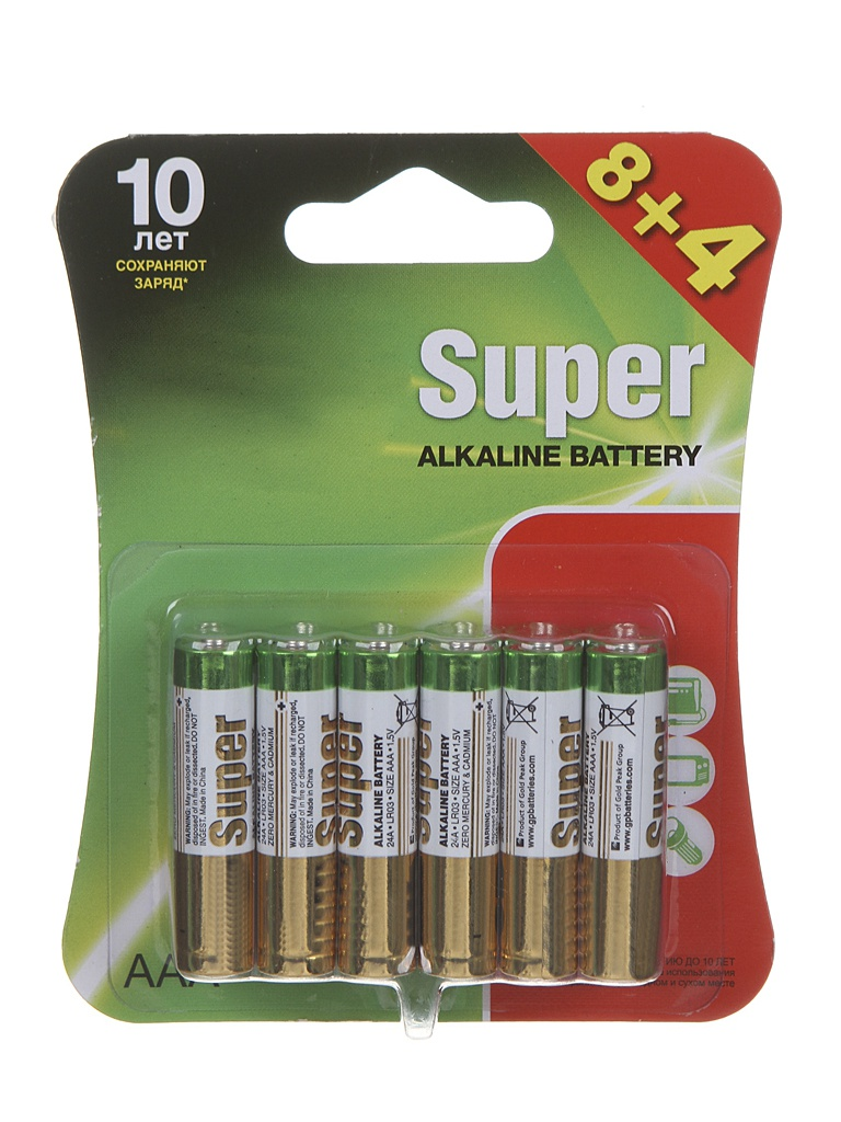 Фото - Батарейка AAA - GP Super Alkaline LR03 24A 24A8/4-2CR12 (12 штук) батарейка aaa smartbuy one lr03 soba 3a40s eco 40 штук