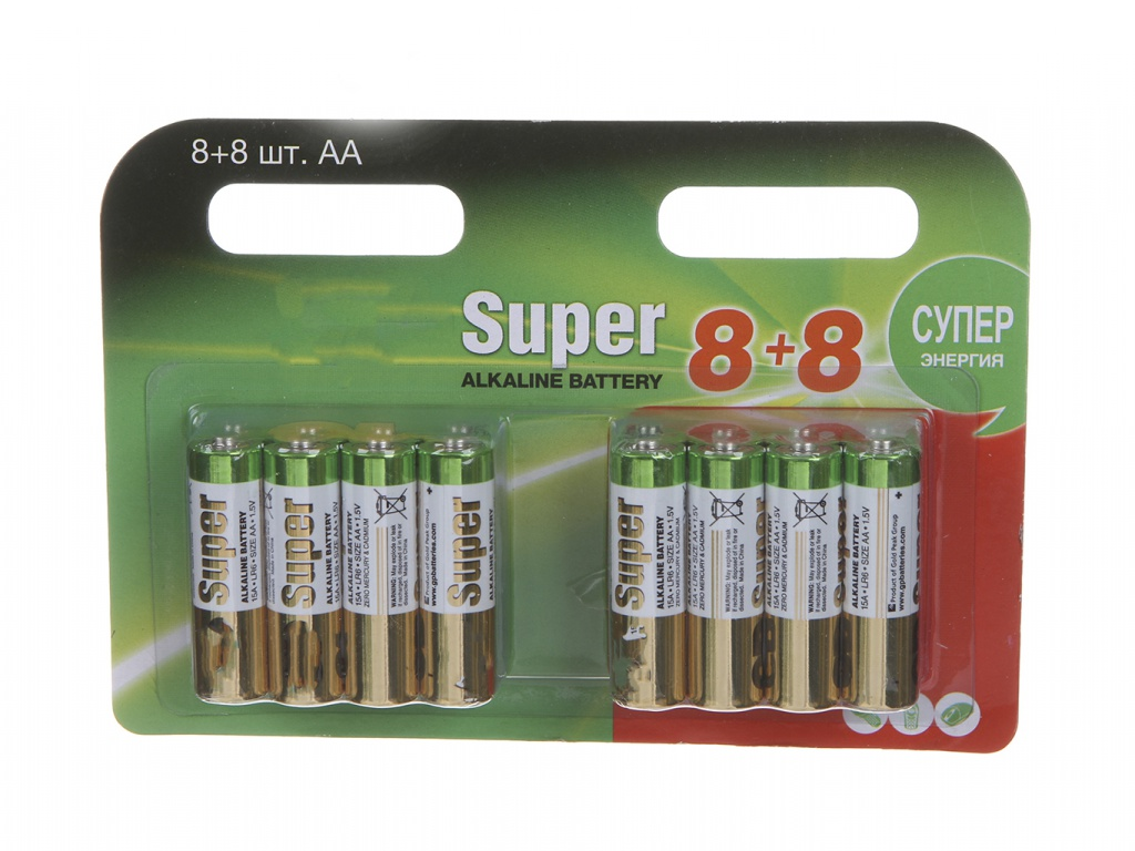 Батарейка AA - GP Super Alkaline 15A8/8-2CRD16 (16 штук)
