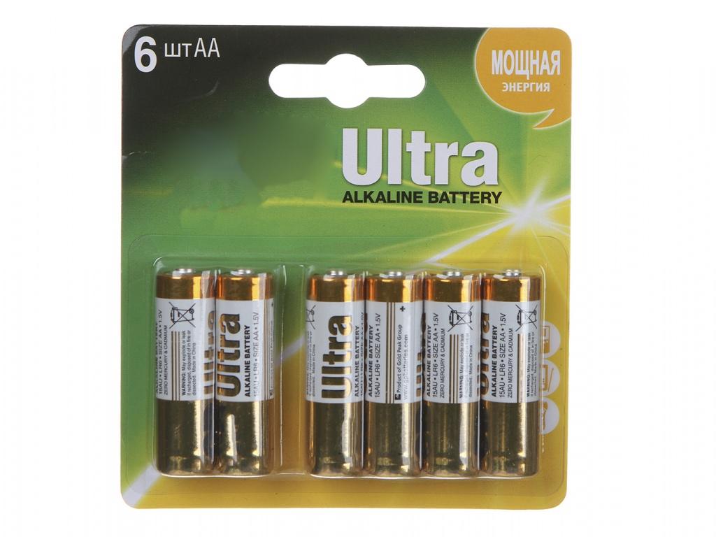 Батарейка AA - GP Ultra Alkaline 15AU4/2-CR6 (6 штук) элемент питания gp 15au4 2 cr6 ultra аа 6 шт