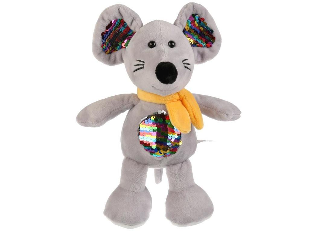 Игрушка Мульти-пульти Мышь с пайетками на животе 16cm JC18475NS — Мышь с пайетками на животе