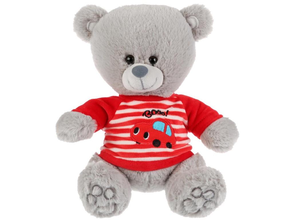 Игрушка Мульти-пульти Медведь в футболочке с машинкой 22cm M9848-22B — Медведь в футболочке с машинкой