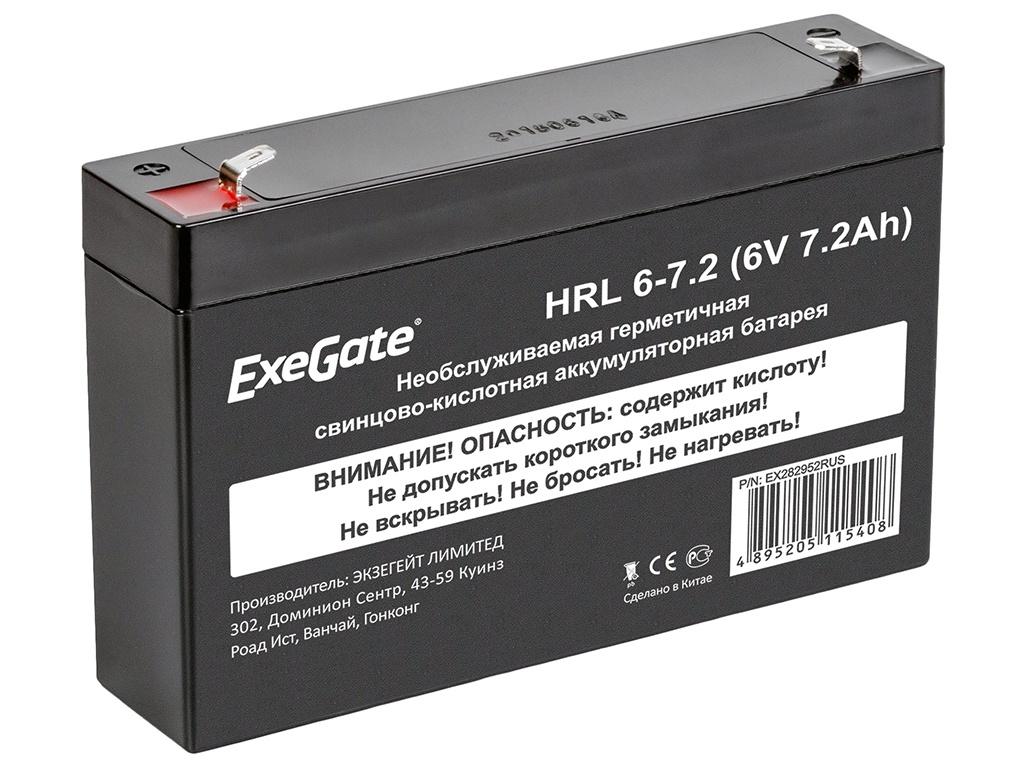 Аккумулятор для ИБП ExeGate HRL 6-7.2 6V 7.2Ah клеммы F1 EX282952RUS HRL 6-7.2 EX282952RUS фото