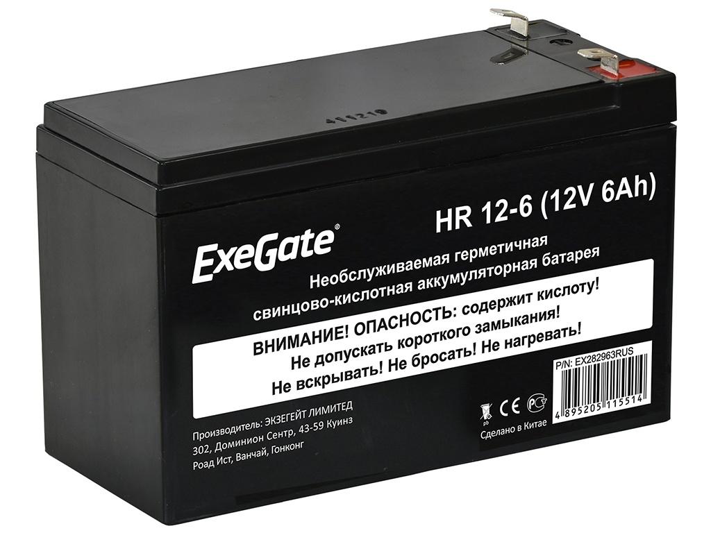 Аккумулятор для ИБП ExeGate HR 12-6 12V 6Ah 1224W клеммы F2 EX282963RUS фото