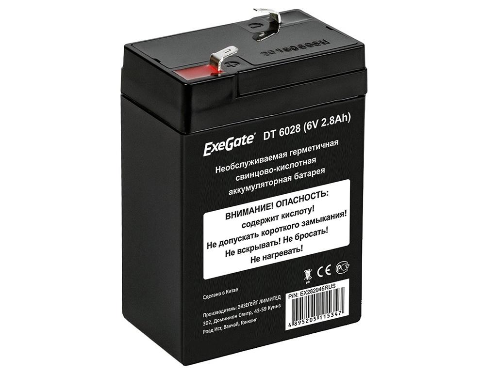 Аккумулятор для ИБП ExeGate DT 6028 6V 2.8Ah клеммы F1 EX282946RUS