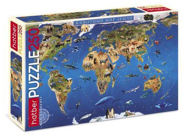Пазл Hatber Карта Животный мир 250ПЗ3_15482
