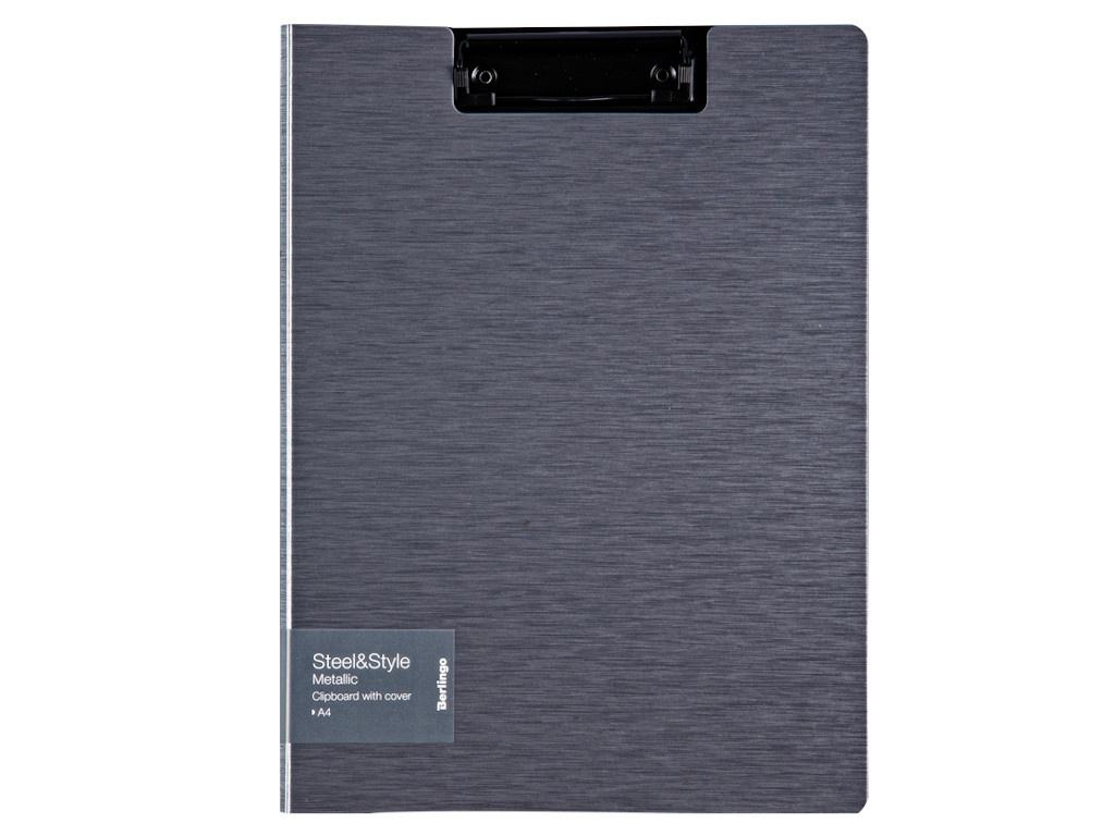 Папка Berlingo Steel&Style A4 пластик, полифом, с зажимом Silver Metallic PPf_93102