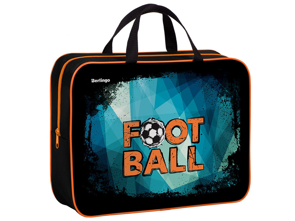 Папка Berlingo Football A4 350x265x80mm 1 отделение, текстиль, на молнии FB70-012
