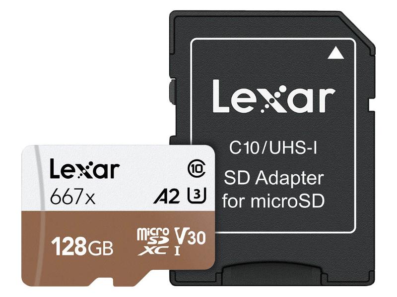 Карта памяти 128Gb - Lexar Micro Secure Digital XC 667X Class 10 U3 A1 V30 LSDMI128B667A с переходником под SD