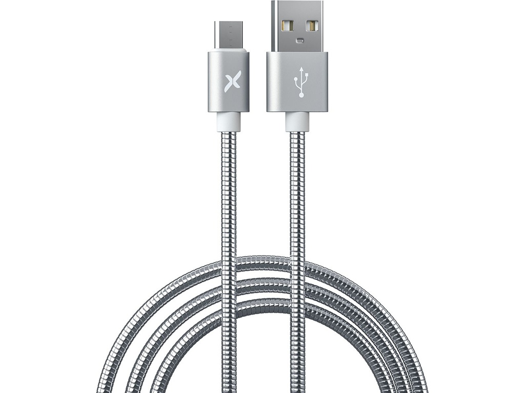Аксессуар Flexis Metal USB - MicroUSB 1m Silver FX-CAB-MTMU-SV