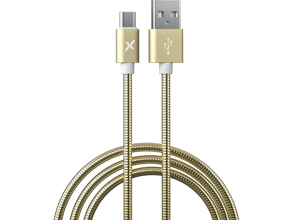 Аксессуар Flexis Metal USB - Type-C 1m Gold FX-CAB-MTTC-GD