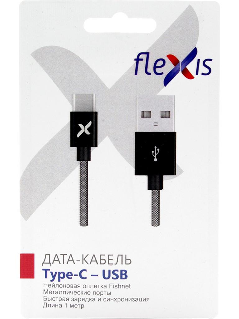 Аксессуар Flexis Fishnet USB - Type-C 1m Black FX-CAB-FNTC-BL