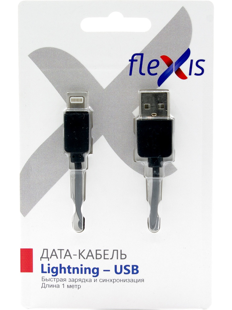 Аксессуар Flexis Simple USB - Lightning 8pin 1m Black FX-CAB-S8p-BL