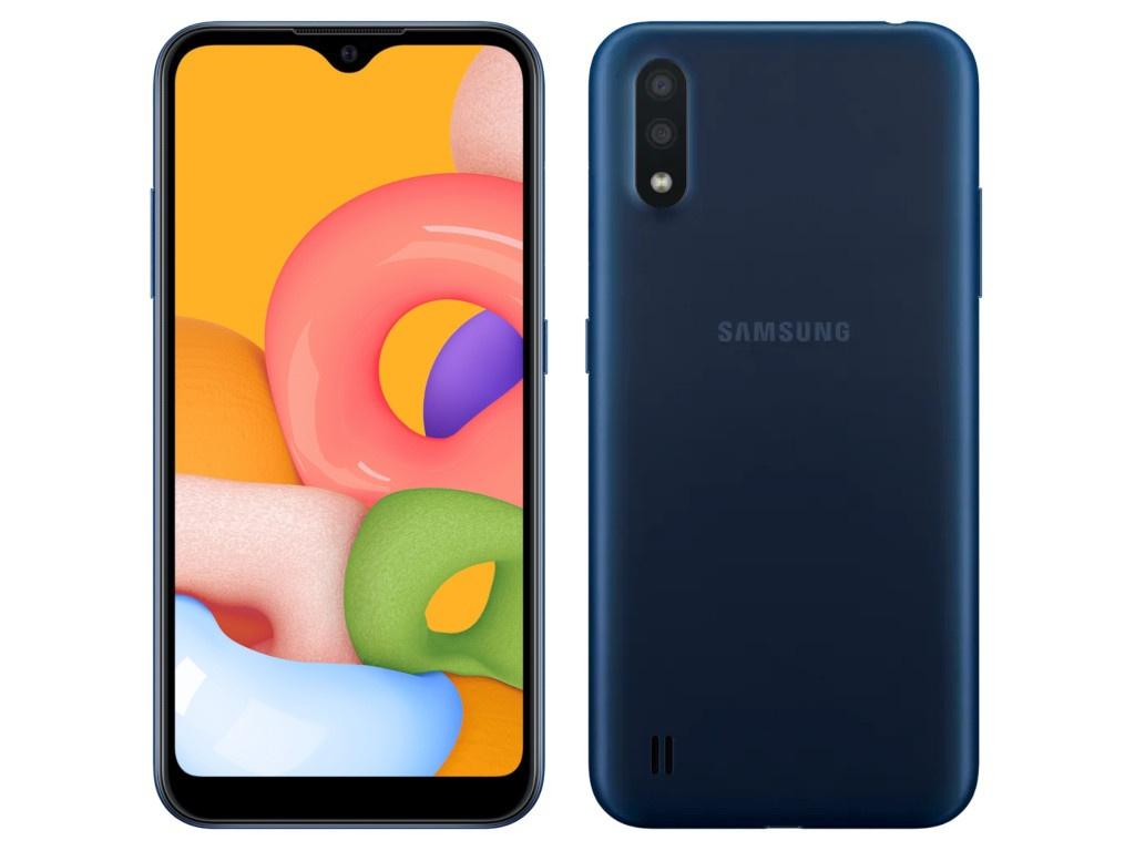 Сотовый телефон Samsung SM-A015F Galaxy A01 2Gb/16Gb Blue Выгодный набор + серт. 200Р!!! чехол red line для samsung galaxy a01 sm a015f book cover blue ут000019498