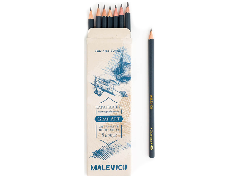 Фото - Набор чернографитных карандашей Малевичъ GrafArt 8шт 197908 набор карандашей малевичъ grafart 8шт bordo 830216