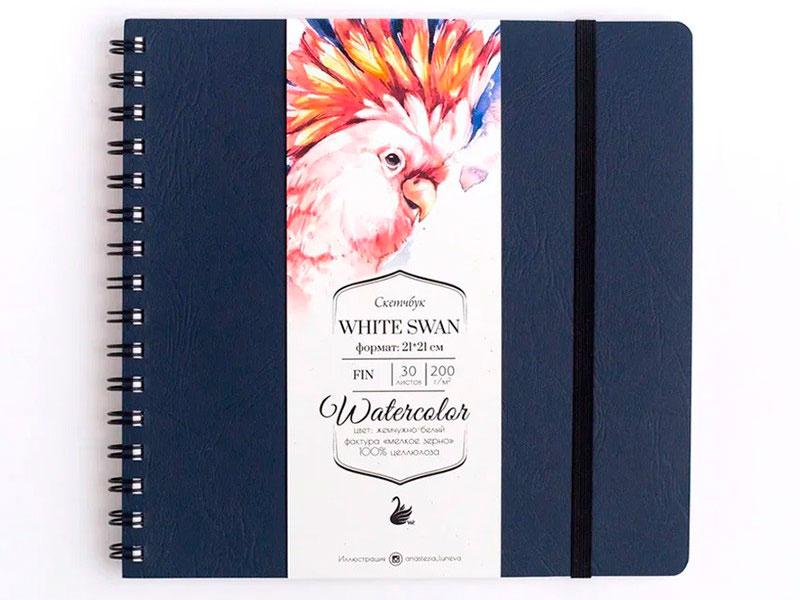 Скетчбук для акварели Малевичъ White Swan Blue Fin 200г/м 21х21 30л 401451
