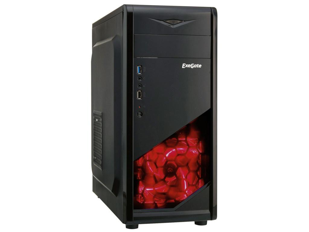 цена на Корпус ExeGate Miditower EVO-8207 Black-Red Light EX281257RUS