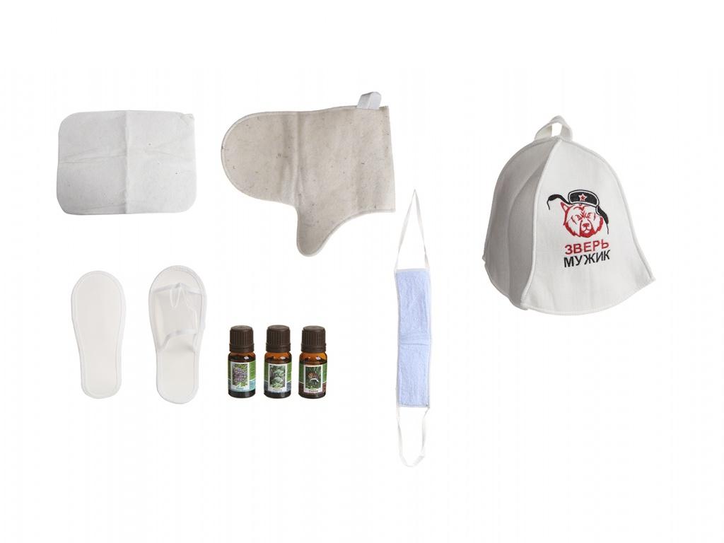 Набор для бани Бацькина баня Мужской характер: шапка,коврик,рукавица 18053