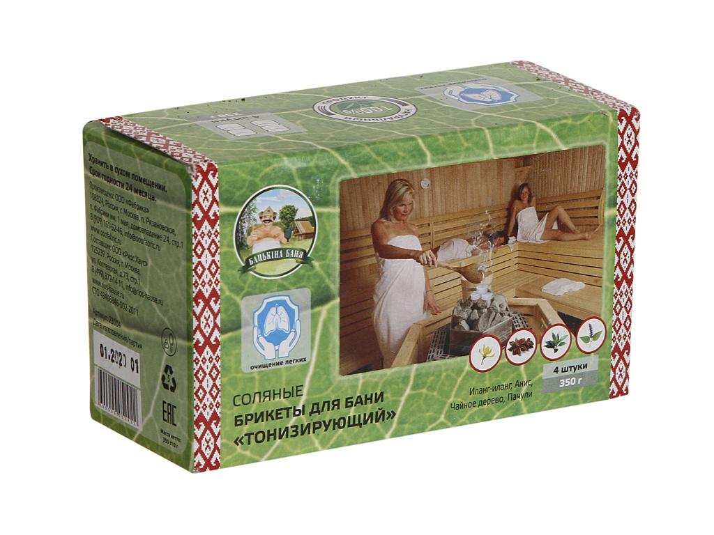 Соляные брикеты для бани Бацькина баня Иланг-Иланг, Анис, Чайное дерево, Пачули 350гр 23004