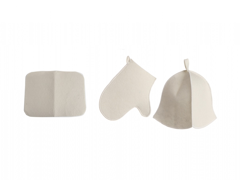 Набор для бани Бацькина баня Шапка Classic White,коврик,рукавичка 13301
