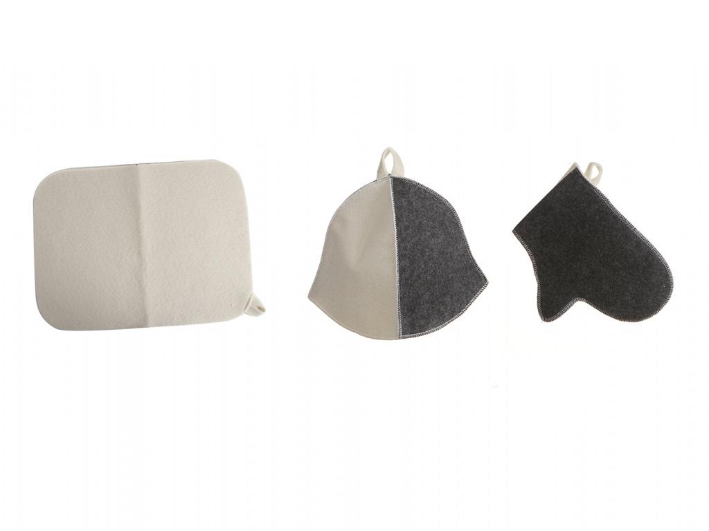 Набор для бани Бацькина баня Комбинированный Шапка,коврик,рукавичка 13307