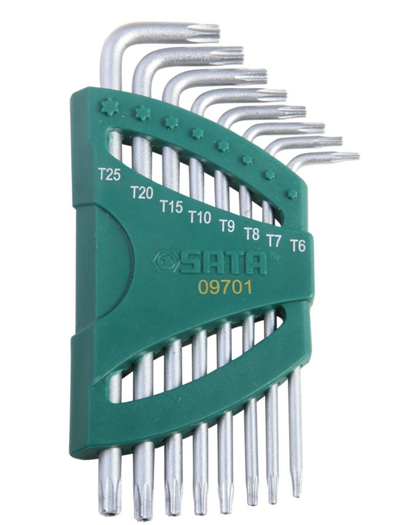 Набор шестигранных ключей Sata 09701 набор ключей sata 09105a 9пр угловые сфер кон metric пласт блист
