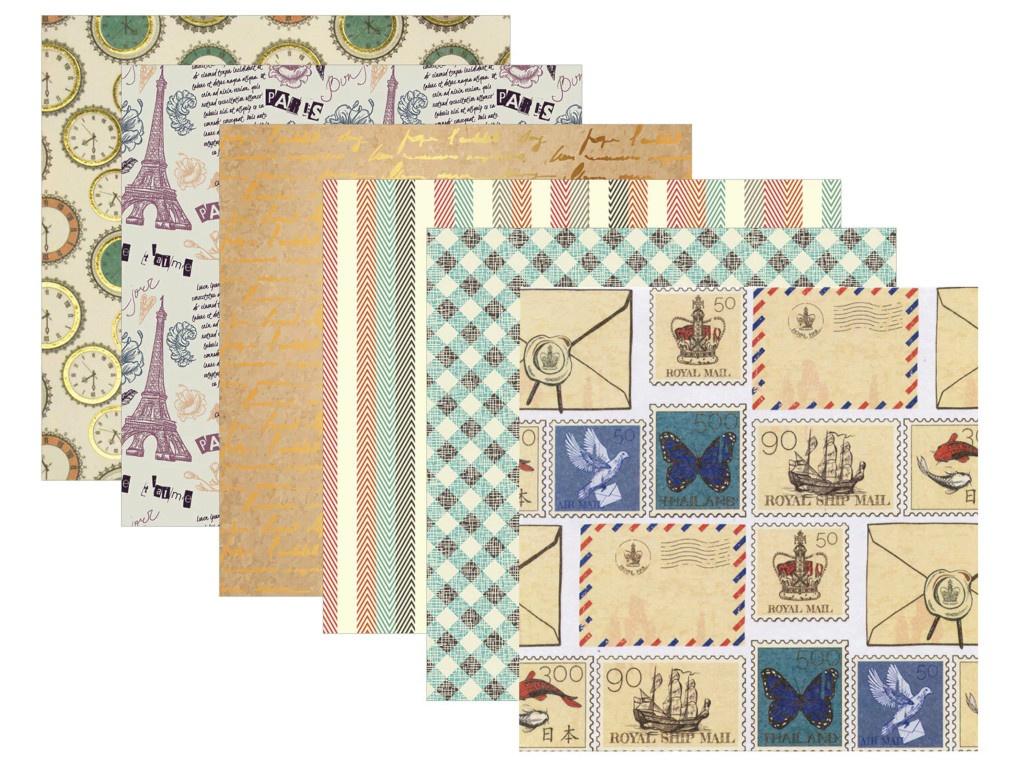 Цветная Washi-бумага Остров Сокровищ Винтаж самоклеящаяся 12 листов 6 дизайнов 661721