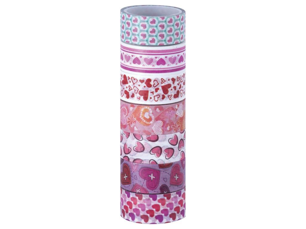 Клейкие Washi-ленты Остров Сокровищ Сердца 15mm x 3m 7 цветов 661708