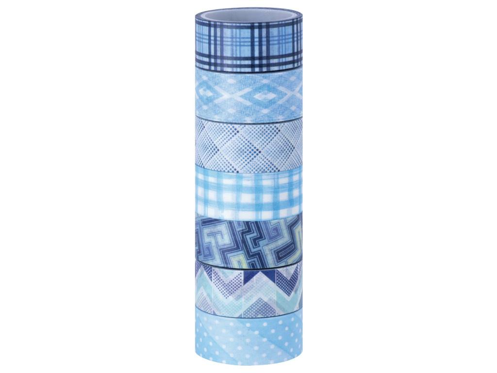 Клейкие Washi-ленты Остров Сокровищ Оттенки синего 15mm x 3m 7 цветов 661703