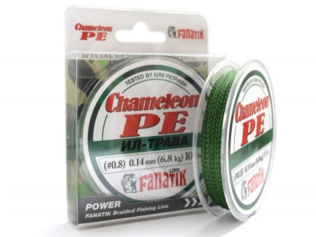 Леска Fanatik Chameleon PE X4 (#0,8) 0.14mm 100m Grass CHGBPEX410008 леска fanatik ultralight pe x4 0 3 0 086mm 100m pink ulpex41000086p