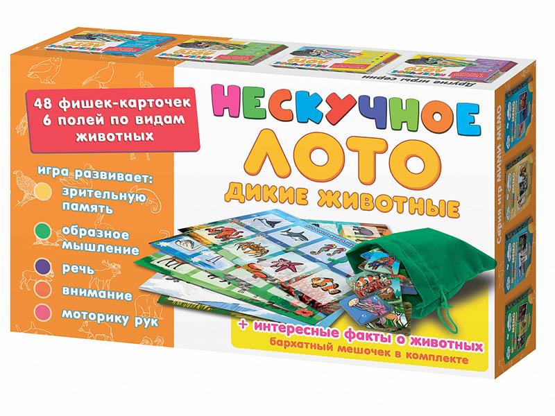 Настольная игра Нескучные игры Нескучное лото Дикие животные 8111 фигурки дикие животные бегемоты 2 шт oem1234416 kari