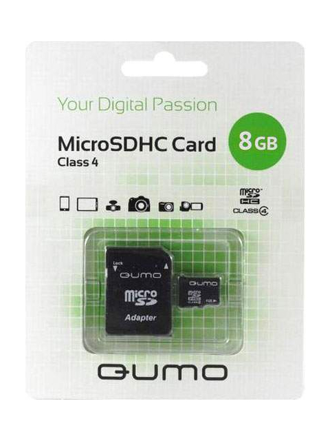 Карта памяти 8Gb - Qumo Micro Secure Digital HC Class 4 QM8GMICSDHC4 с переходником под SD
