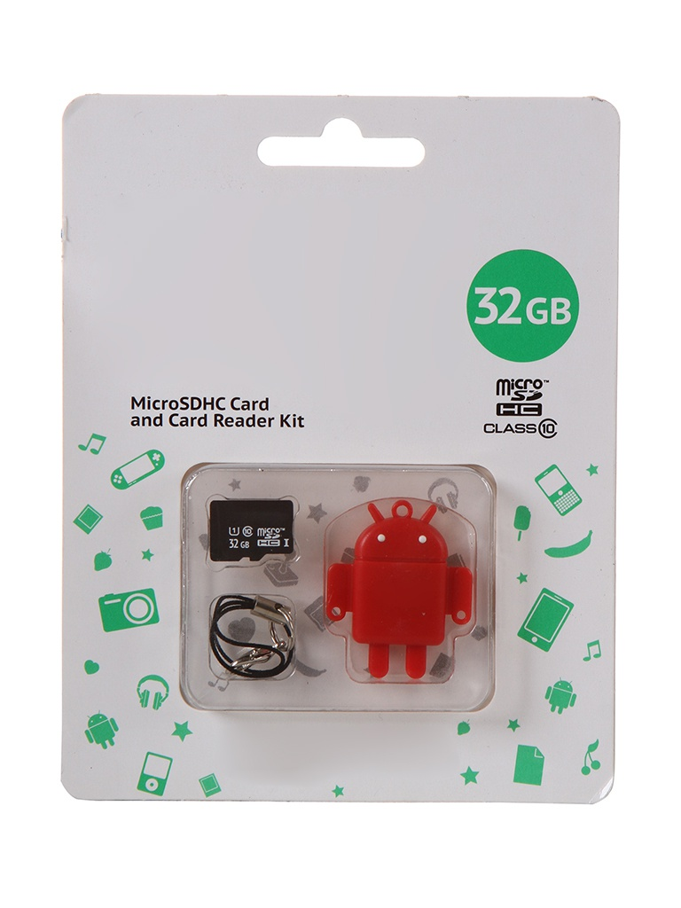 Карта памяти 32Gb - Qumo Fundroid Micro Secure Digital HC Class 10 Red QM32GCR-MSD10-FD-RED с картридером USB
