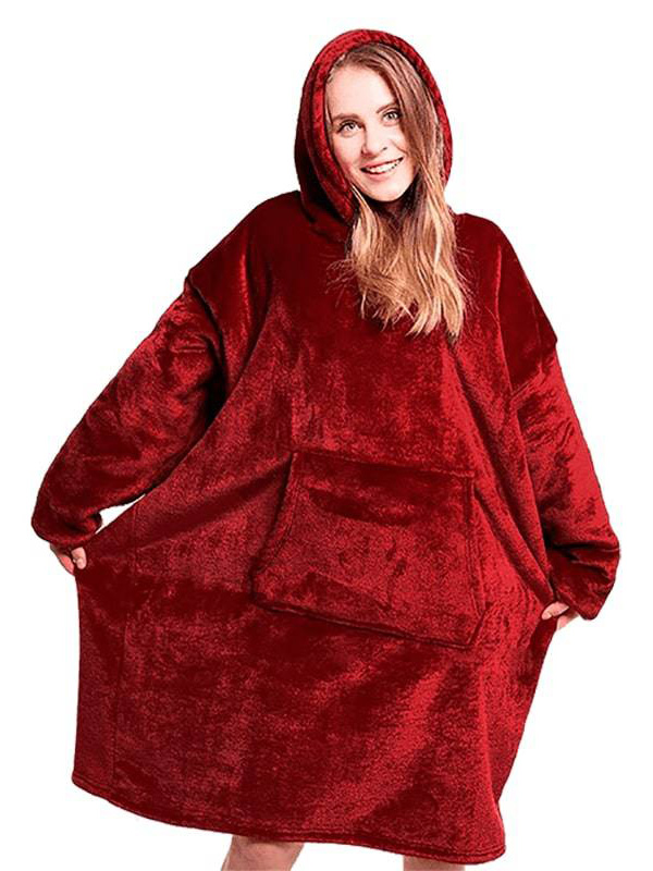 Плед с капюшоном Veila Huggle Ultra Plush Blanket Hoodie 3560 Bordo
