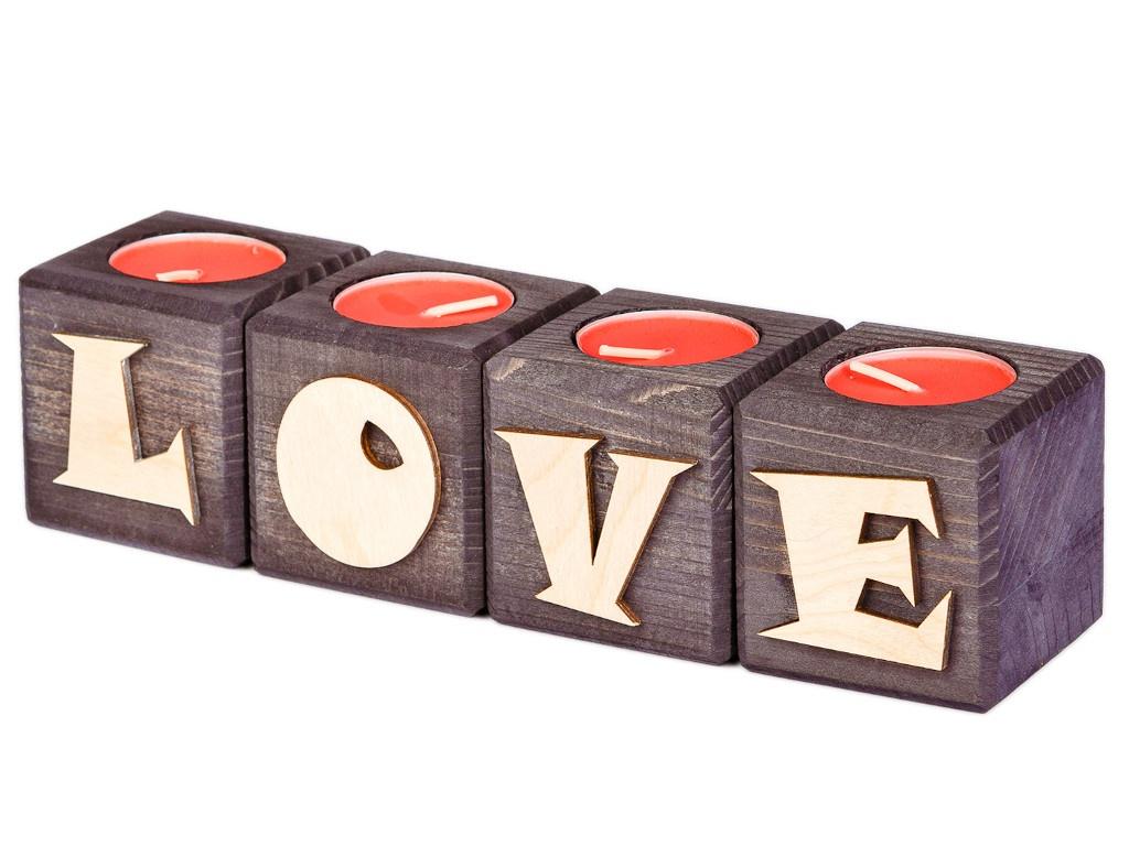 Набор подсвечников со свечами Qrona Love Ebony CNDL-04-04