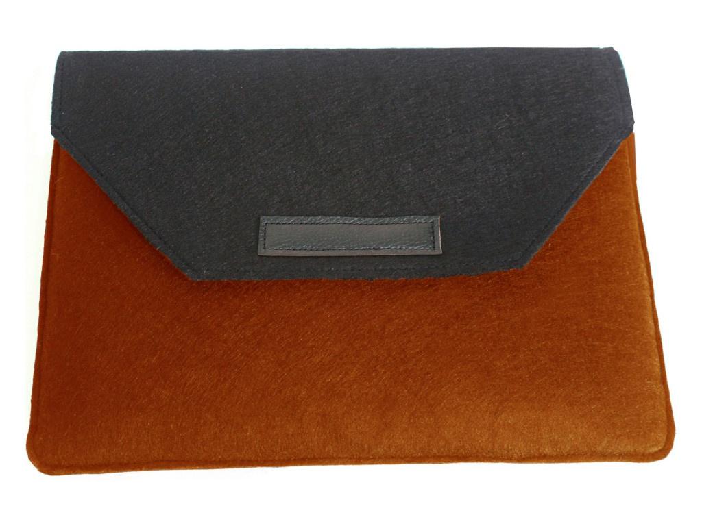 Аксессуар Чехол-папка 12-13.3-inch Vivacase для MacBook Felt Black-Orange VCN-FELT133-bl-or