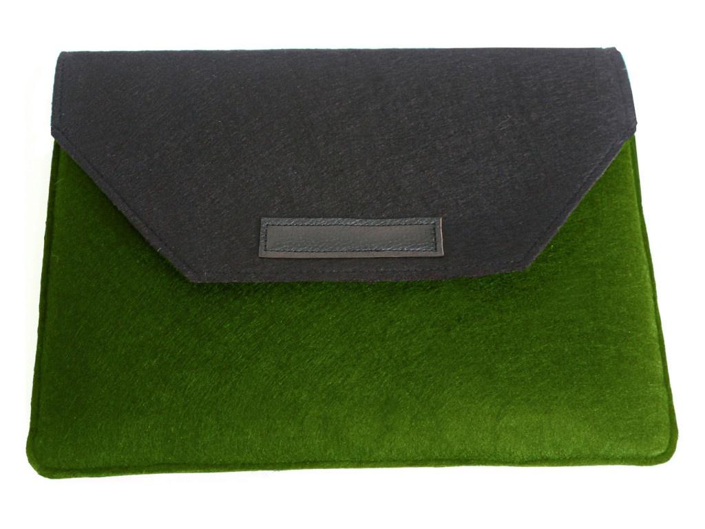 Аксессуар Чехол-папка 12-13.3-inch Vivacase для MacBook Felt Black-Green VCN-FELT133-bl-green