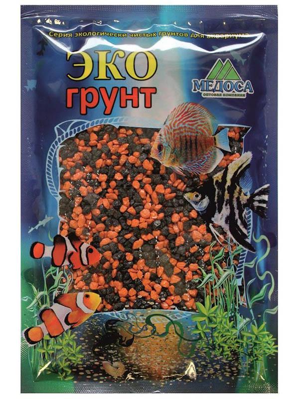 Цветная мраморная крошка Эко грунт 2-5mm 7kg Black/Orange 7-1053